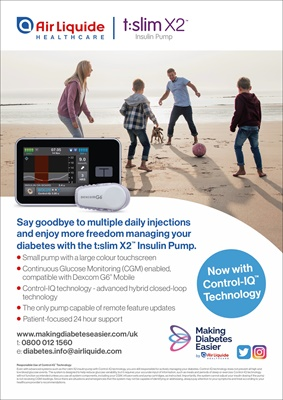 Air Liquide Healthcare UK Tandem t:slim insulin pump with Control IQ