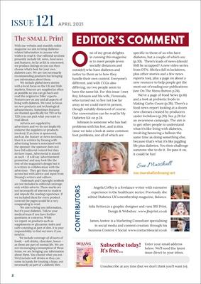 Desang diabetes, magazine diabetes information, Sue Marshall diabetes