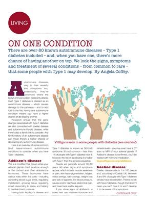 Autoimmune conditions diabetes, Graves disease, Vitiligo