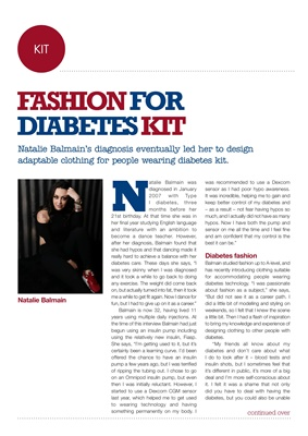 Diabetes kit, Natalie Balmain diabetes, Type 1 clothing