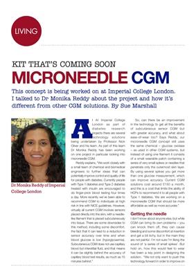 Diabetes kit, microneedle CGM, Imperial College London Diabetes Research, Dr Monika Reddy