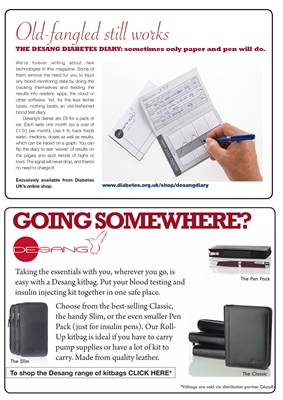 Desang diabetes magazine, Desang Diabetes Diaries, Desang Kitbags