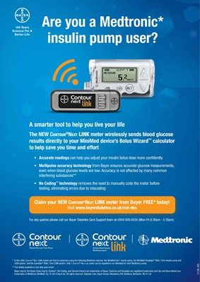 Bayer Contour Link USB blood test meter for Medtronic insulin pump