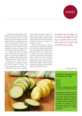 Carb content of courgettes for the diabetic diet