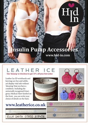 Hid-In insulin pump belts, Leather ICE medical ID