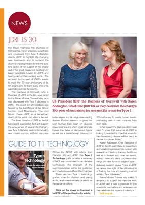 Diabetes news, JDRF, Presidenåt JDRF UK Duchess of Cornwall, Karen Addington, INPUT, Type 1 diabetes
