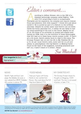 Sue Marshall, The Grumpy Pumper, Desang Diabetes Magazine, hypos, DRWF, Diabetes UK, CGM, the full s