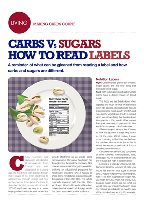 Making Carbs Count, carb counting, how to read a nutrition label