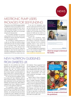 Diabetes UK Nutrition Guidelines, Medtronic insulin pump CGM packages