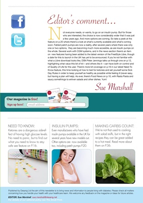Desang diabetes magazine diabetes information, Sue Marshall