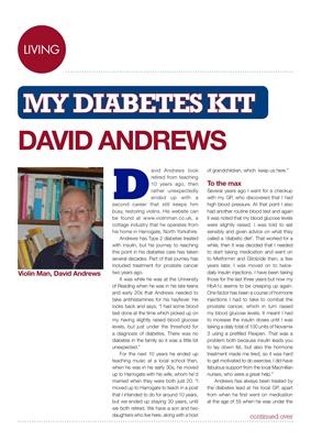 David Andrews violin man, Type 2 diabetes, HbA1c, metformin, gliclizide