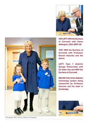 JDRF patron HRH Duchess of Cornwall, diabetes research Dr Roman Hovorka