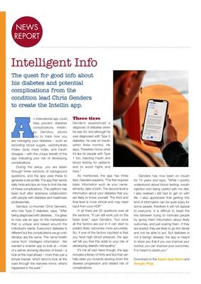 Intellin, Chris Genders, diabetes health information app, Type 2 diabetes
