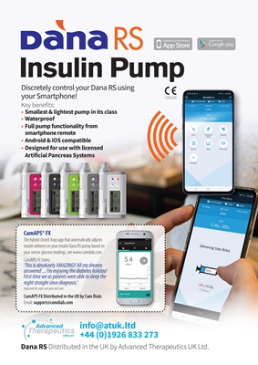 insulin pump, Dana RS system, artificial pancreas, Advanced Therapeutics UK, CamAPS FX, Dexcom G6