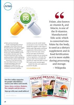 desang diabetes, diabtes news, diabetes research, diabetes and folic acid, hypo metrics