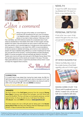 Desang diabetes, magazine diabetes information, Sue Marshall diabetes