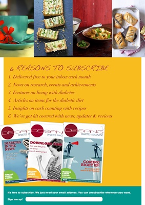 Free diabetes magazine, living with diabetes, the diabetic diet, carb counting
