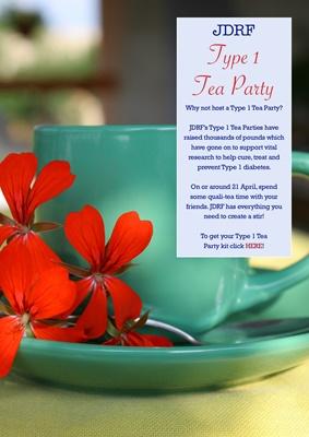 JDRF Type 1 tea party, raise awareness Type 1 diabetes