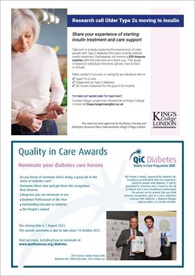 diabetes research participant request Kings College Hospital